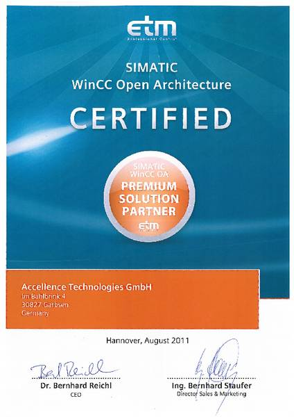 Accellence is a certified WinCC OA Solution Partner of ETM professional control GmbH.